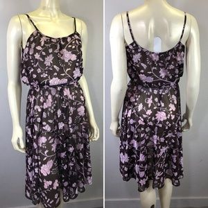 Vintage 70s Sheer Disco Sun Dress Floral Boho